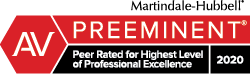 Martindale-Hubbell AV Preeminent Peer Rated For Highest Level of Professional Excellence 2020